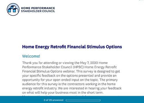 Home Energy Retrofits Financial Stimulus Survey