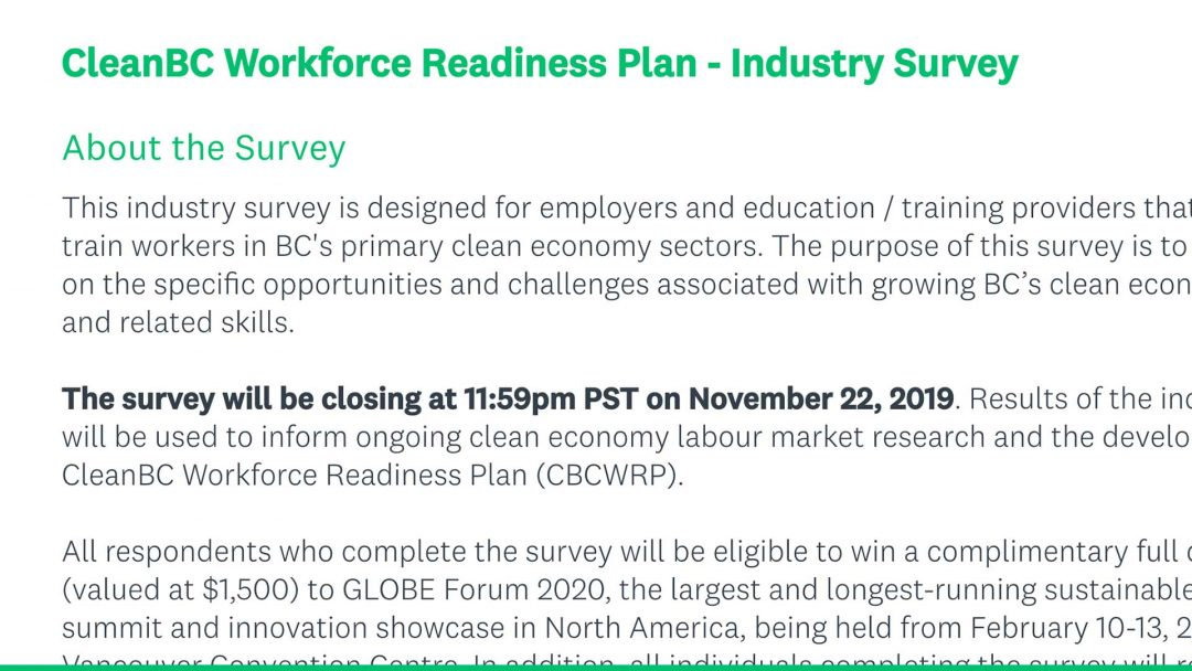 Help identify labour, skills development and workforce opportunities that CleanBC brings