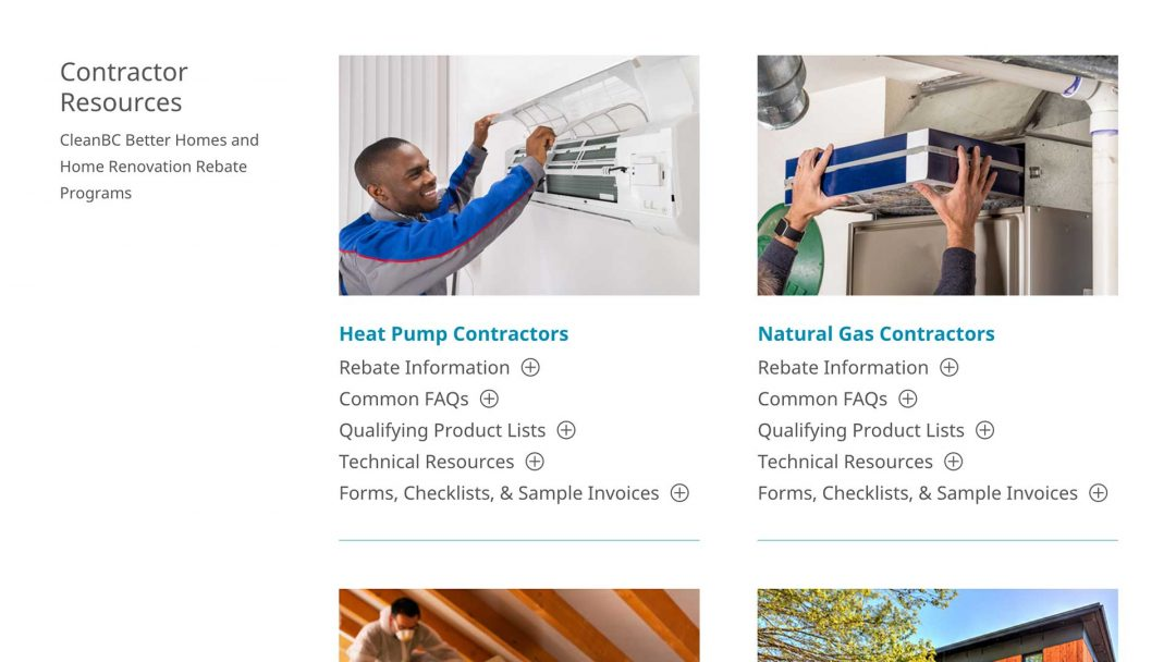 CleanBC Better Homes Contractor Support Page